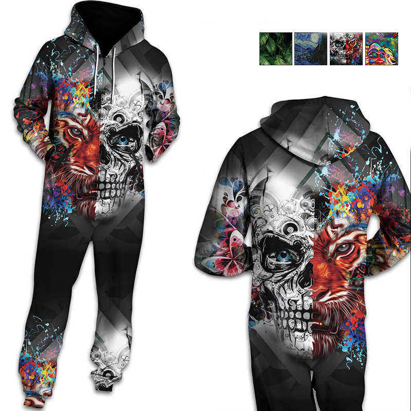 0a05569e8927 Centuryestar 3D Hoodies Pyjama One Piece Pajamas Onesie Adults Men Pijama  Hombre Jumpsuit Mens Winter Zipper