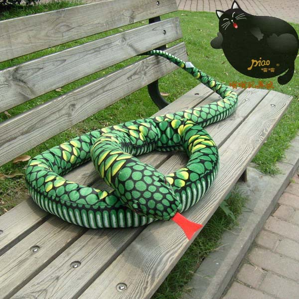 plush green snake toy creative big pattern python toy new green boa gift toy 280cm 0273