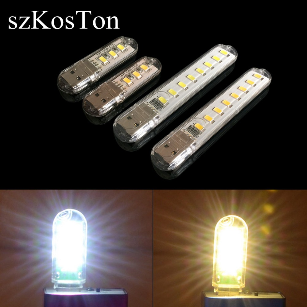 5PCS Mini USB LED Book Night Light Camping 3LEDs/8LEDs Universal Power Supply Reading Lights For PC Laptops Computer Notebook