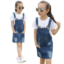 Toddlers Denim Dresses For Girls Children Clothing Summer Girls Dresses Brand Baby Kids Sundress 18M 24M 4 6 8 10 12 14 15 Years цены