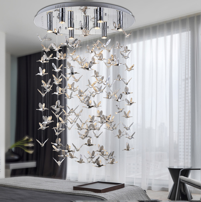 Bird crystal Pendant lamp living room lamp high-grade hotel restaurant hotel exhibition hall lighting pendant light ZA90620 living room chairs hotel hall restaurant