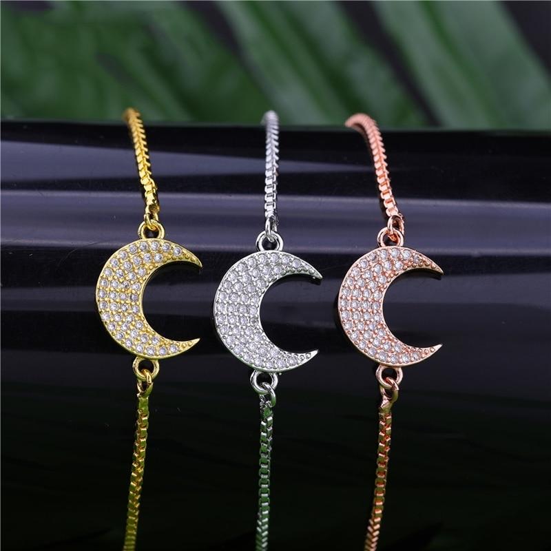 Juya Gold/Silver/Rose Gold Allah Bracelets Handmade Islamic Muslim Eid al-Fitr Crescent Moon Bracelet For Women Prayer Jewelry