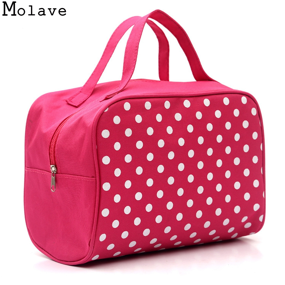 Women New Fashion Dot Multifunction Travel Cosmetic Bag Storage Bag Toiletry Cosmetic Cases Make Up Bag Handbag May4 new women fashion pu leather cosmetic bag high quality makeup box ladies toiletry bag lovely handbag pouch suitcase storage bag