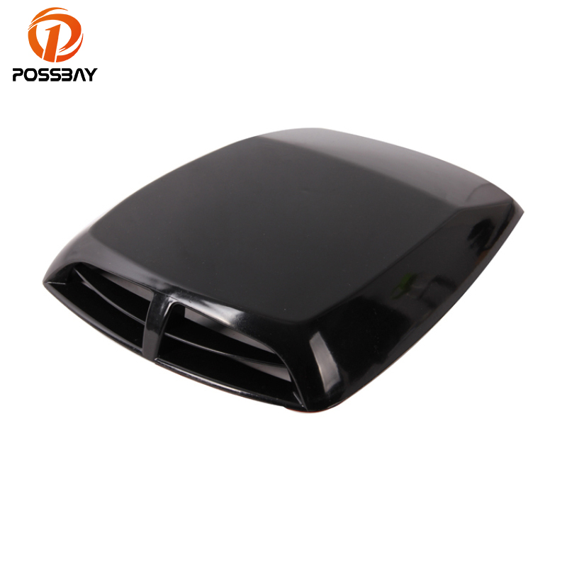 POSSBAY Car Side Intake Decorative Outlet Air Intake Hood Flow Black Intake Turbo Bonnet Vent Automobiles Head Decoration