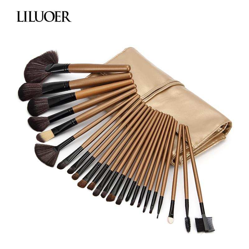 LILUOER high quality beauty 24 pieces makeup brushes full professional makeup kit