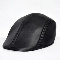 2018 New Size L XXL Sheepskin Beret Men Keep Warm Caps Man Winter Hats Fashion Leather Man Cap Good Quality Dad hat AD0726