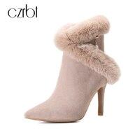 Czrbt冬ハイヒールブーツ女性本革ブーツウサギの毛皮尖ったつま先薄いかかと高品質手作りアンクルブーツ