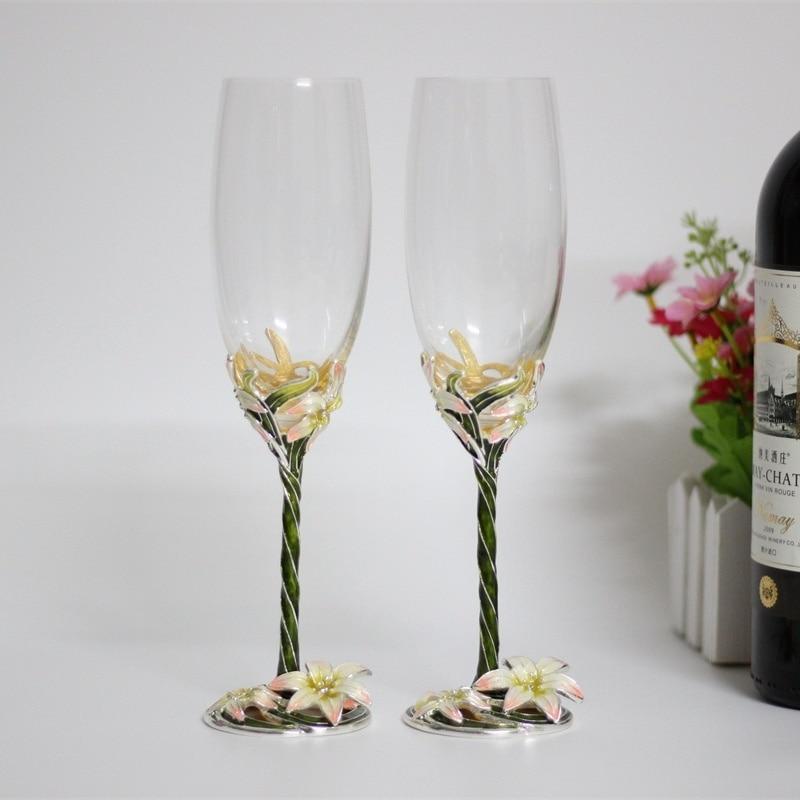 Verres à vin en émail flûtes à champagne en cristal de fleur lot de 2 cadeaux pour amoureux de mariage verres à vin en champagne grillage émail coloré