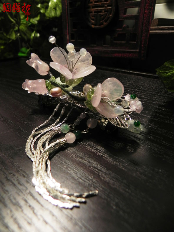 Pink crystal peach blossom A quality crystal spring clip classical hairpin hosta flowers handmade hair accessory hair jewelry savannah bee company natural and organic peach blossom shimmer lip tint 0 09 ounce