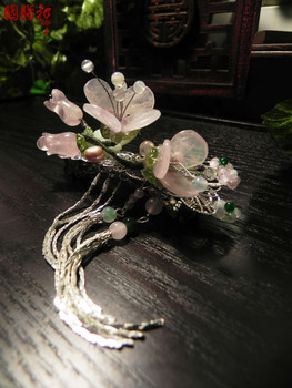 Pink crystal peach blossom A quality crystal spring clip classical hairpin hosta flowers handmade hair accessory hair jewelry