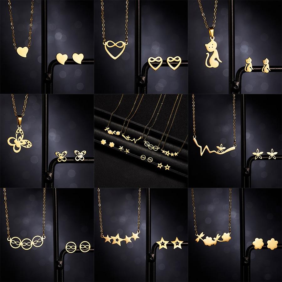 Belleper Heart Animal ECG Flower Star Gold Color Stainless Steel Sets For Women Necklace Earrings Jewelry Set Wedding Jewelry