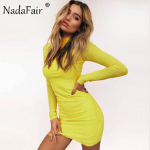 Nadafair Mesh Full Sleeve Turtleneck Skinny Mini Women Dress Sexy Club Dress 2018 New Fashion Autumn Casual Party Dresses