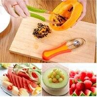 3 In 1 Melon Spoon Fruit Peeler Household Gadget Kitchen Tools Blue Green Peeling Fruit