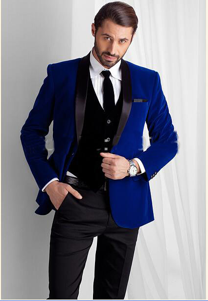 New Designed Royal Blue Velvet Groom Tuxedos groommens suits/Bespoke One button Groom wedding suits for mens/Bestman's wedding s