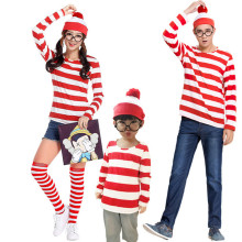 New Teen Adults Mens Ladies Wally Waldo Wenda Character Costume Red White Outfit Book Week Fancy Dress Shirt Hat Glasses