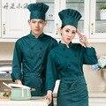 Mulheres Chef Uniforme 2016 Uniforme Do Cozinheiro Chefe Homens De Poliéster de Algodão Mangas Compridas Outono E Inverno Padaria Restaurante Do Hotel mesa de Trabalho Da Cozinha.