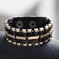 Cool Jewelry Men Woman Metal Studs Cool Rock Punk Genuine Leather Bracelets Fashion Bracelet