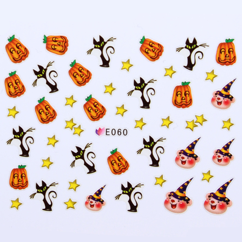 11 Designs Halloween Nail Art Stickers Scary Black Cats Bats Pumpkin