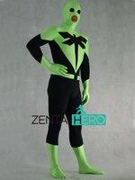 Бесплатная доставка DHL Стрекоза супергерой Человек КИНО черный и зеленый лайкра Zentai костюм с открытым ртом боди Необычные платья PS108