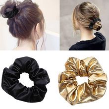 shiny elastic Women Pu Faux Leather Elastic Hair Girls Hairband Rope Ponytail Holder Scrunchie Gold Black Headbands Accesso
