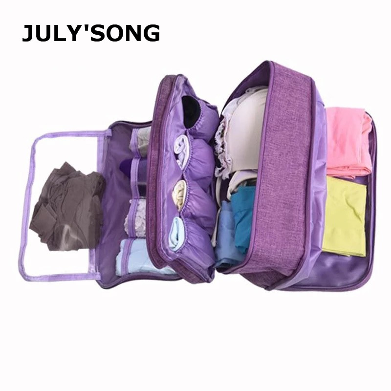 JULY'S SONG Waterproof Dividers Underwear Bra Socks Organizer Bag Large Capacity Travel Bag Portable Travel Duffle