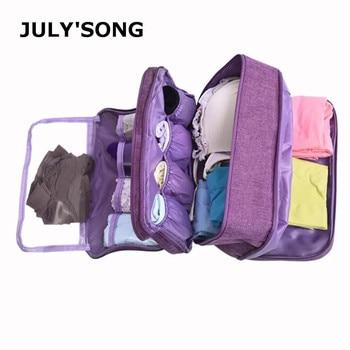 JULY'S SONG Waterproof Dividers Underwear Bra Socks Organizer Bag Large Capacity Travel Portable Duffle - discount item  30% OFF Travel Bags