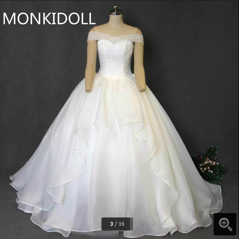 New design ball gown off the shoulder white lace wedding dress princess puffy long sweetheart real picture wedding dresses 2017