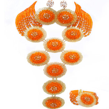 Fashion Orange and Champagne Gold AB Costume African Jewelry Set Crystal Nigerian Beads Necklace Sets 9PHK04