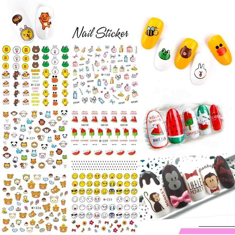 1 Sheet Leuke Cartoon Kleine Beer Cartoon Glimlach Dier Kind Nail Art Tattoos Volledige Cover Stickers Water Decal Nail Art nail Wraps