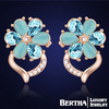 2015 New Flower Gold Earrings With Swarovski Elements Austrian Crystal High Quality Fine Jewelry Party Stud