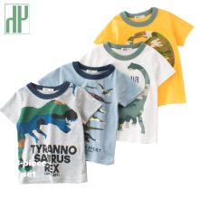 Baby Boys T Shirt Cartoon Dinosaur Clothes Print Toddler Girl Shirts Summer Children Kids Shorts Sleeve Boys Tops Tees 2-8years
