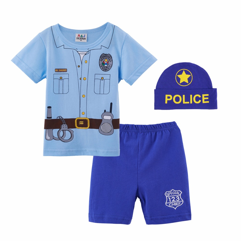 Baby Boys Police Costume Clothing Set with Hat Infant T-Shirt + Pants + Hat Newborn Cap Cosplay Ropa Bebe Costume For Babies cute baby infant high qualit toddler chef cotton costume 3 piece clothes hat white top plaid pants for newborn boys suits hot
