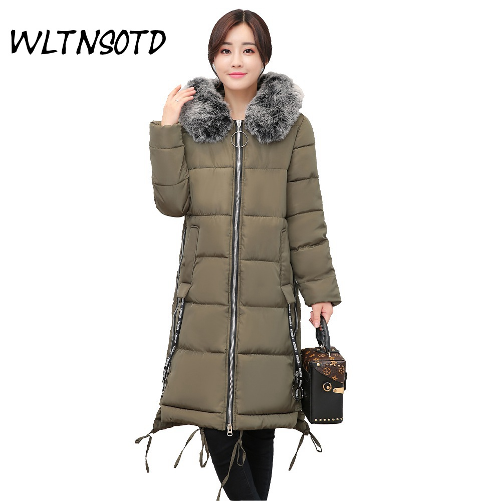 2017 new winter cotton coat women's long Slim Hooded Fur collar jacket Female fashion large size warm Parkas overdress 2017 winter new cotton coat women slim long hooded big fur collar jacket female solid overdress thick warm parkas