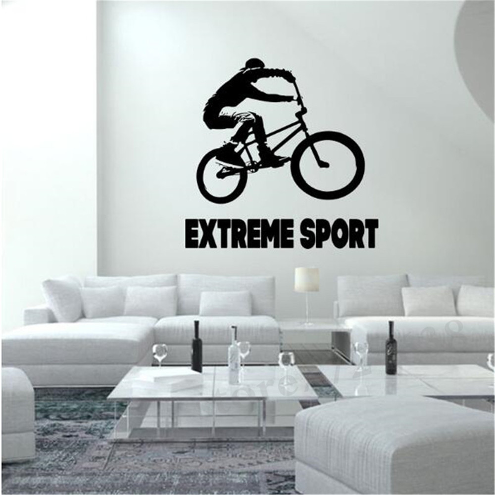 Sports bicycle cycling bike wall sticker home decor custom art sports bicycle cycling bike wall sticker home decor custom art removable wall stickers for bedroom vinyl decal decoration in wall stickers from home amipublicfo Choice Image