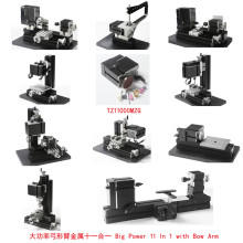 60W Metal 10 in 1 Mini lathe with Bow Arm/60W,12000rpm Mini Bow-arm 10in1 Metal lathe Machine TZ10000MG