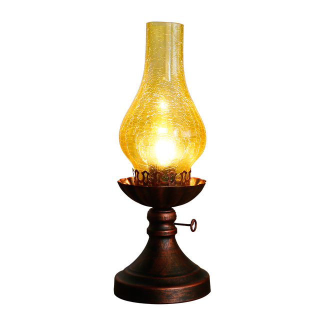 Loft Retro Vintage Kerosene Glass Table Lamp Bedroom Bedside Table