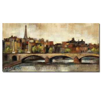 Hand Painted Oil Painting on Canvas Modern Abstract Paris Bridge Painting Wall Picture for Living Room Decor Street Landscape