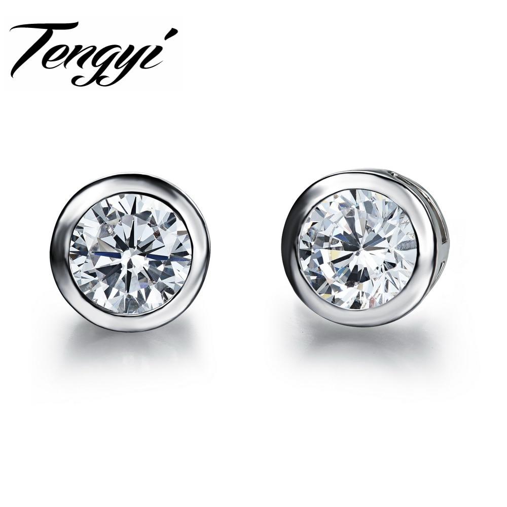 Tengyi Fashion White Gold Color Black Stone Stud