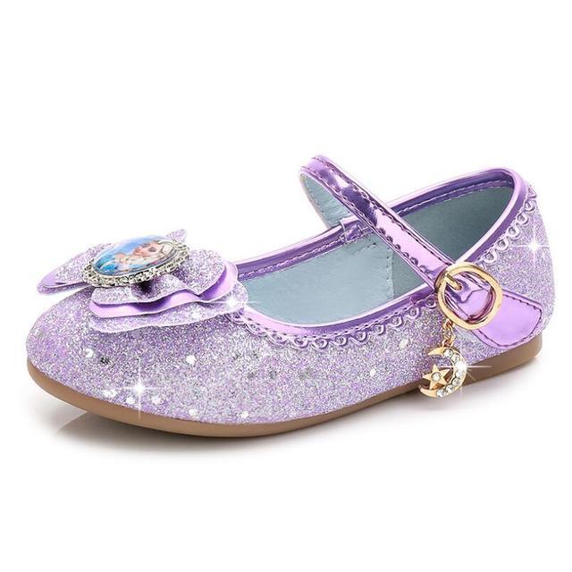 New Princess Kids Leather Shoes For Girls Flower Casual Glitter Children  Flat Heel Girls Sandals Butterfly Knot Elsa Sandal 7915afed72ea