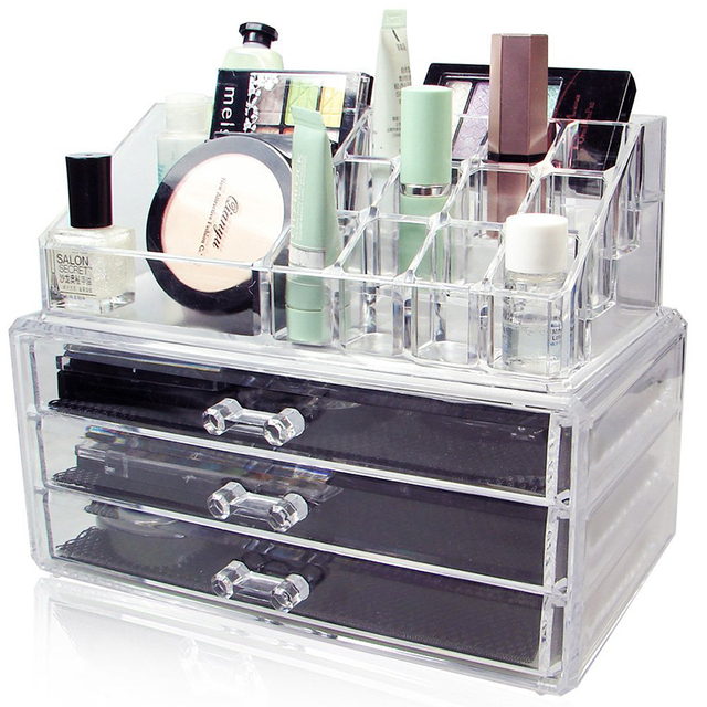 Acrylic Makeup Organizer Large 3 Drawer Jewerly Chest Or Makeup Storage  Ideas Case Lipstick Liner Brush