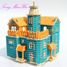 1 Set 3 D Castle Wool Construction Puzzle Toy Child Building Toys Gift Wooden Model House