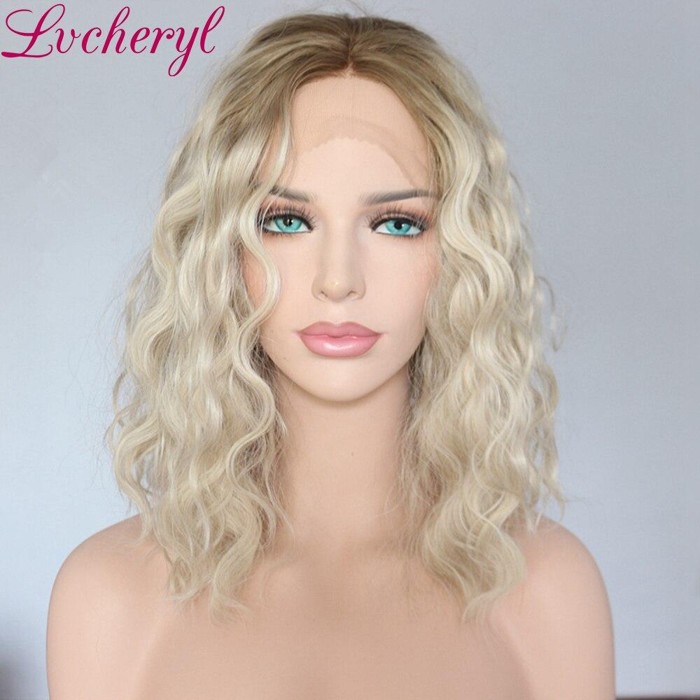 Lvcheryl Ombre brun à Blonde à la main liée à la vague d'eau courte résistant à la chaleur Fiber cheveux synthétique avant de lacet perruques pour les femmes