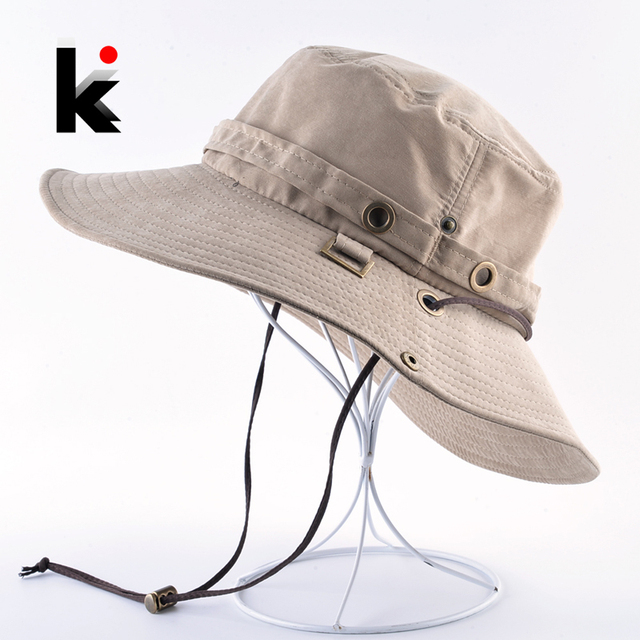 dbdf791c1f2bb Summer Bob Sun Hat For Men Breathable Bucket Cap Women Outdoor Anti-UV Fishing  Hiking