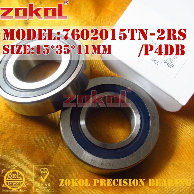 ZOKOL bearing 7602015 TN 2RS P4 DB C 760202 2RSDB Axial Angular Contact Ball Bearing 15*35*11mm zokol bearing 5317 2rs 3317 2rz 3056317 axial angular contact ball bearing 85 180 73mm