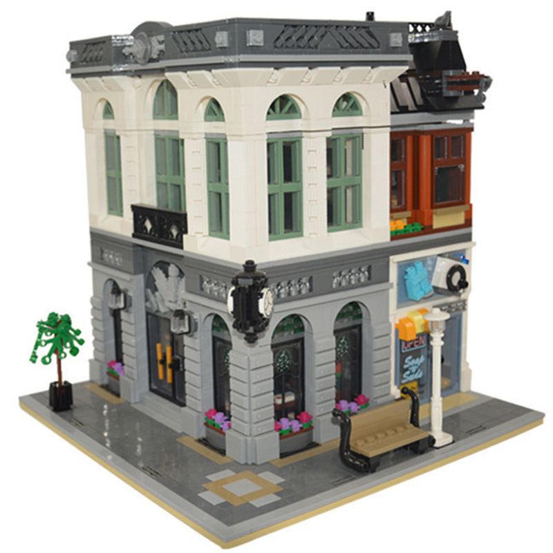 Building Blocks City Street 15001 2413Pcs Bank Model Compatible 10251 Toys For Children Bricks lepin city street in blocks lepin 02012 city deepwater exploration vessel 60095 building blocks policeman toys children compatible with lego gift kid sets