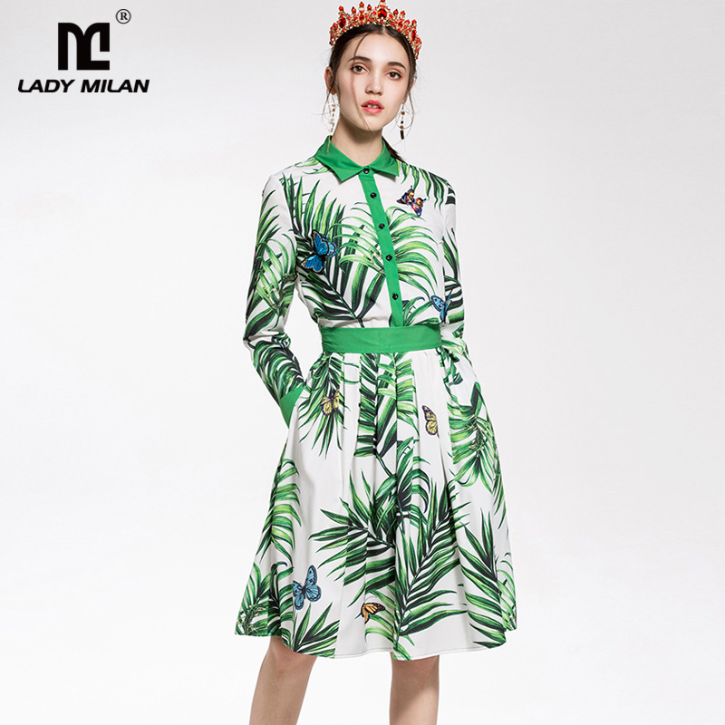 New Arrival 2018 Womens Turn Down Collar Long Sleeves Appliques Butterflies Shirt with Ruched Skirts Fashion Designer Sets