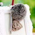 Leather Tassel Fur Pompon Keychain Key Chain 8cm Fluffy Fur Rabbit Ball Pom Pom Keychain Car Key Ring Holder &Porte Clef Llavero