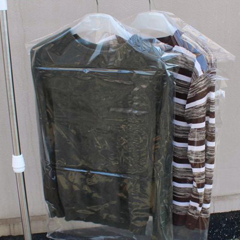 10pcs/Lot Plastic Transparent Dust Cover Garment of Clothes Hanging Pocket Storage Bag Wardrobe Hanging Clothing Non Disposable Clothing Covers     - title=