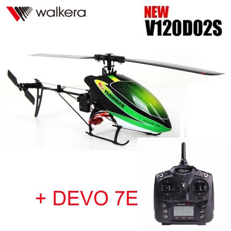 D'origine Walkera Nouveau V120D02S + DEVO 7E Émetteur MINI 3D 6CH 6-Axe gyro RC hélicoptère avec Télécommande + batterie + Chargeur