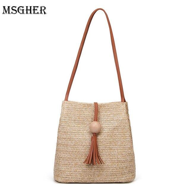 M.S Straw Bag Cute Tassel Summer Beach Handbag Women Causal Shopping Travel Bag Large capacity Woven Shoulder Bags Pouches Bolsa